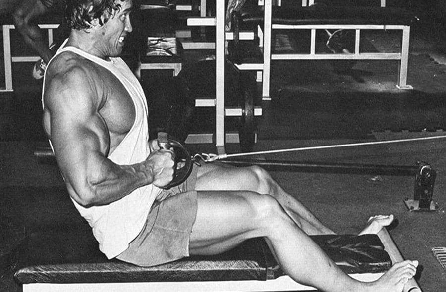 Treino de Costas do Arnold Schwarzenegger Barra Remada Baixa