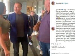Gracyane Barbosa encontra Arnold Schwarzenegger